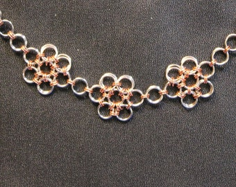 Copper and silver Japanese flower/Celtic daisy bracelet