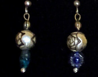 Antiqued silver roses with blue glass flower beads