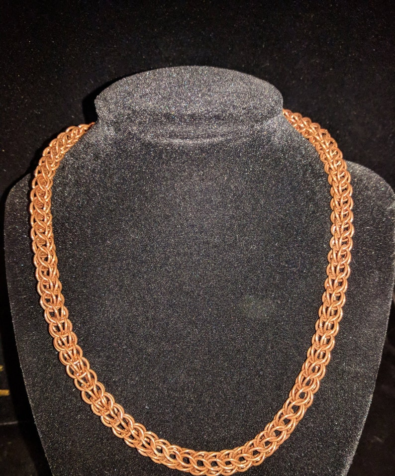 Persian weave chainmail necklace Copper