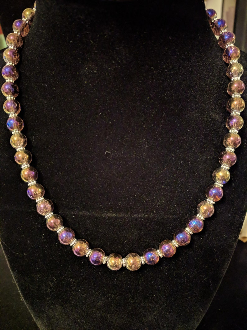 Gorgeous iridescent purple glass beaded necklace 16 inch. image 0
