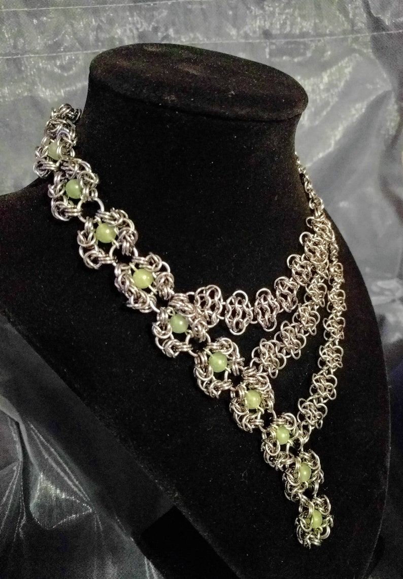 Gorgeous asymmetrical Romanov chainmail necklace image 0