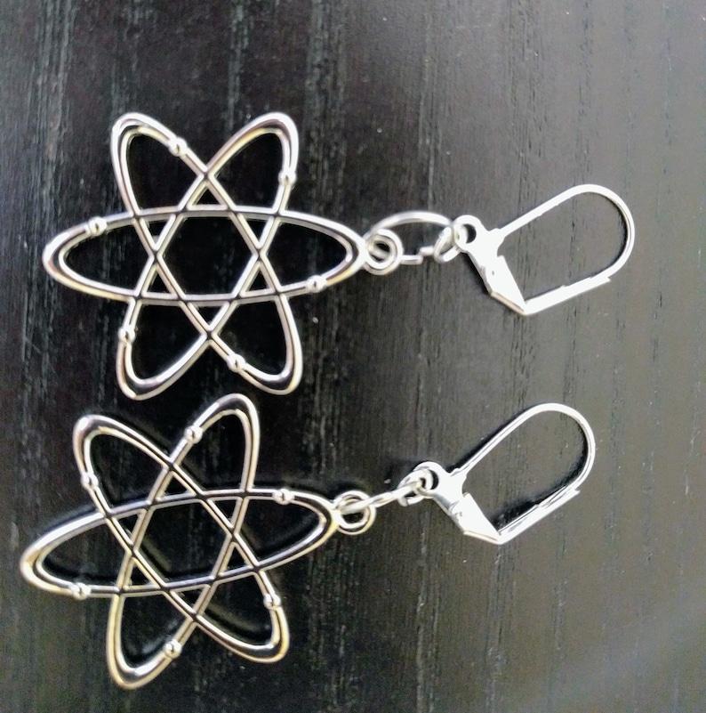 Atomic Beautiful silver plated atom symbol earrings. image 0
