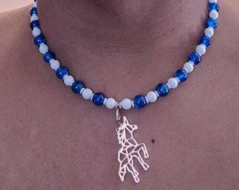 Blue and white unicorn pendant necklace