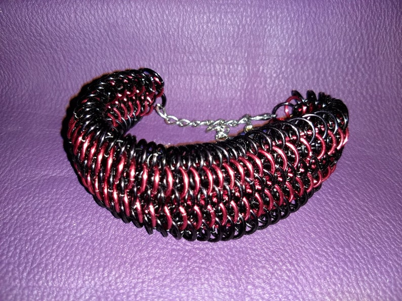 Black and Red Dragonscale Chainmail Bracelet image 0