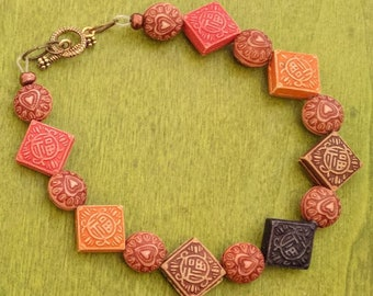 Earthy geometric beaded bracelet
