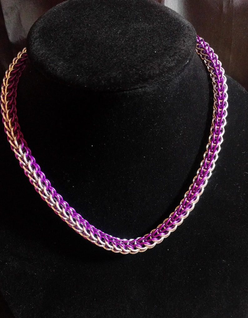 Purple and silver.  Full Persian Weave necklace 17 image 0