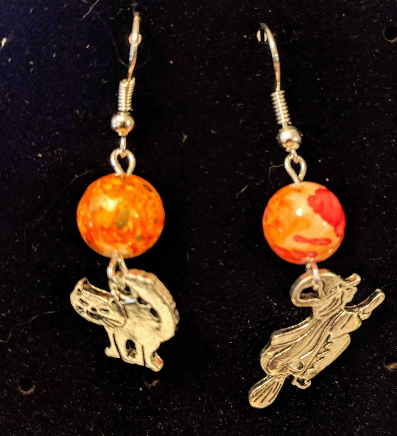 Halloween earrings.  A witch and a her familiar image 0