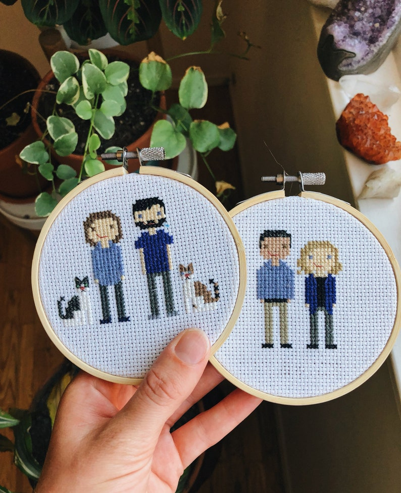 If you are unsure what to get your spouse for your wedding anniversary, then a custom cross-stitch portrait can give your loved one a big surprise. Saving the moment that you never forget into this stitch family portrait is a great way to commemorate your relationship.
