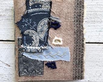 Handstitched Blank Fabric Book - ledger paper