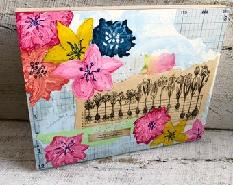 Beauty in Ordinary Things - mixed-media collage on wood panel