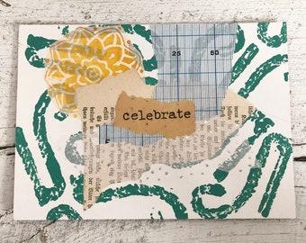 Original Collage on Mat Board - Celebrate