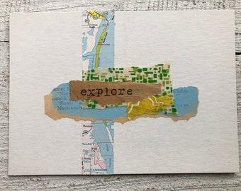 Original Collage on Mat Board - Explore(2)