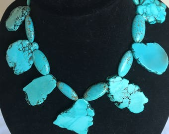 Turquoise  Statement Necklace by Dobka