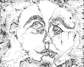 Kunstdruck Illustration Gesichter Brust Abstrakt Psychedelisch