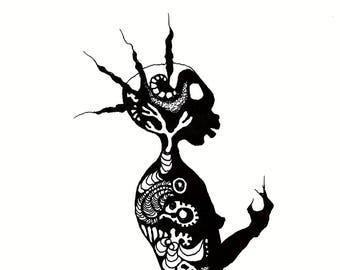 Meerjungfrau Tuschezeichnung Illustration