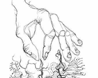 Kunstdruck Hand Finger Illustration Tuschezeichnung Surrealismus