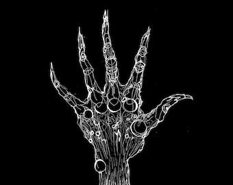 Kunstdruck: Abstrakte Hand (Tuschezeichnung)