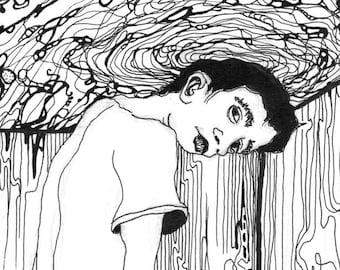 Junger Mann im Zimmer Tuschezeichnung Illustration