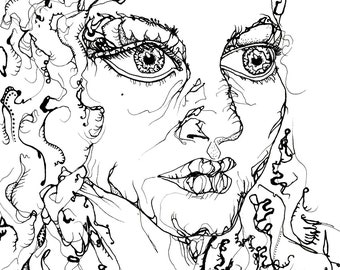 Portrait einer Frau (Kunstdruck, Tuschezeichnung, Illustration)
