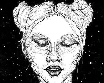 Laura - Tuschezeichnung Illustration Kunstdruck