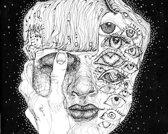 Surrealistisches Porträt, Illustration Tuschezeichnung Kunstdruck