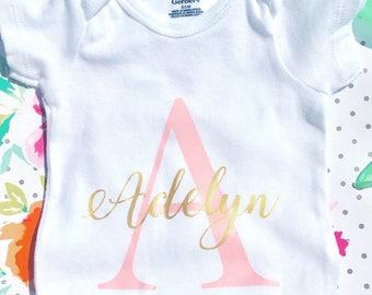 Monogram Onesie - Personalized Onesie - Custom Onesie - Coming Home Gift - Coming Home Onesie - Baby Gift - Baby Name - Baby Monogram