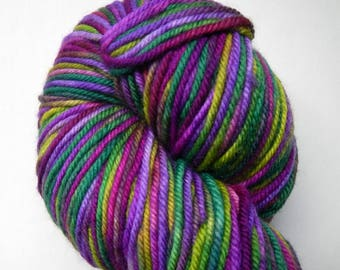 Green pink purple hand-dyed DK merino superwash, 100 grams 231 yards