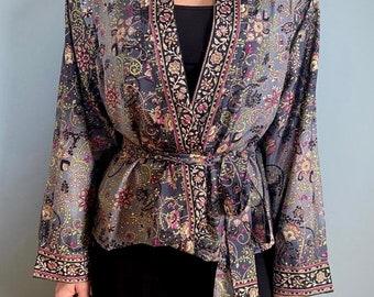 Womens Wrap Top Tropical Coral Boho Kimono Top Vintage Style Luxury Indian Silk
