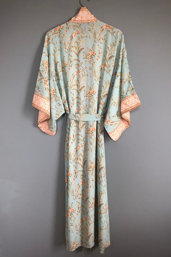 sewing robe,Robes Pyjamas,Bridesmaid Dresses and Bridal Gowns Vintage sari art Handmade Robe mint green robe dress Breathable