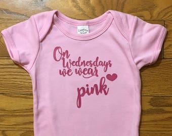 On Wednesdays We Wear Pink // Mean Girls Onesie