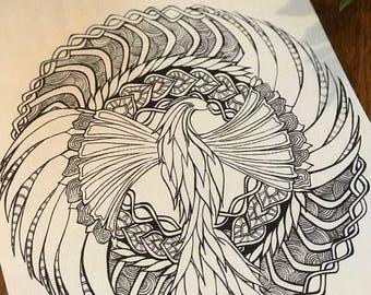 Phoenix Mandala Colouring Page