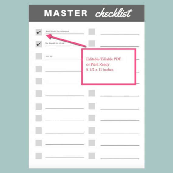 master checklist list to do list fillable editable pdf etsy