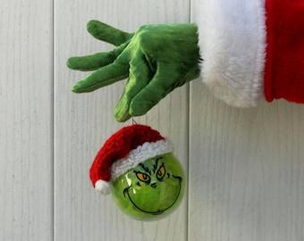 The GRINCH Santa Ornament, Grinch Valentine Ornament, Grinchmas gifts