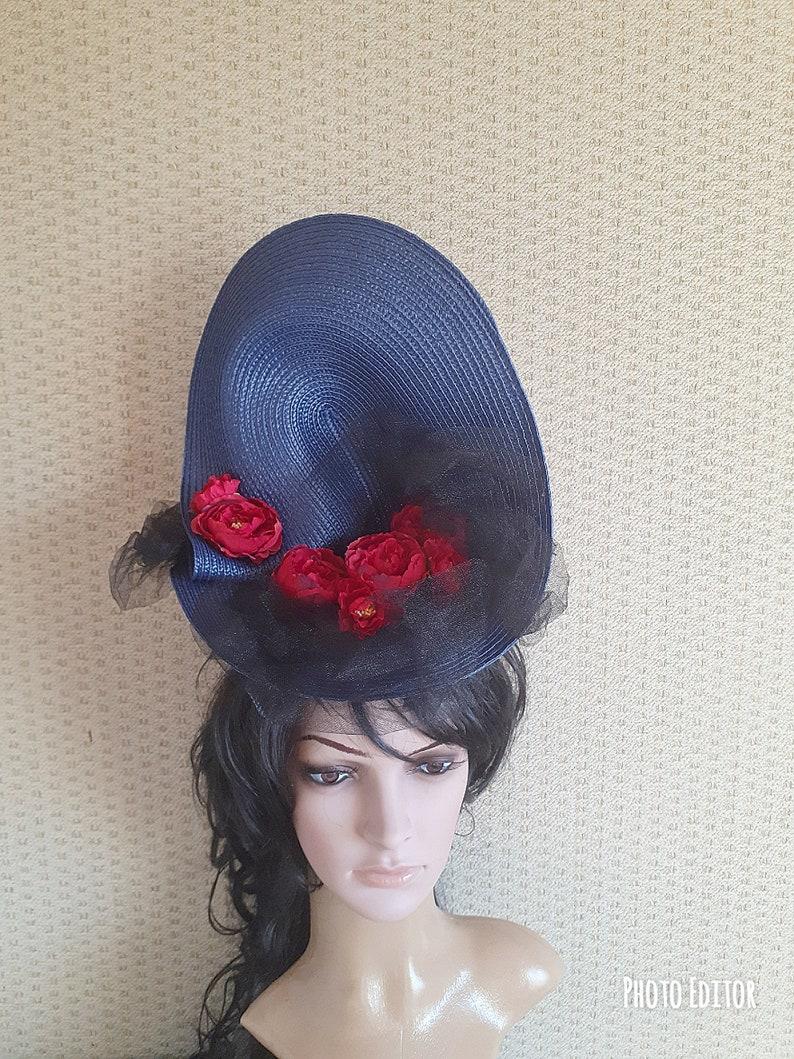 kentucky derby fascinator Church Hat British Hat blue derby fascinator Blue Fascinator derby hat