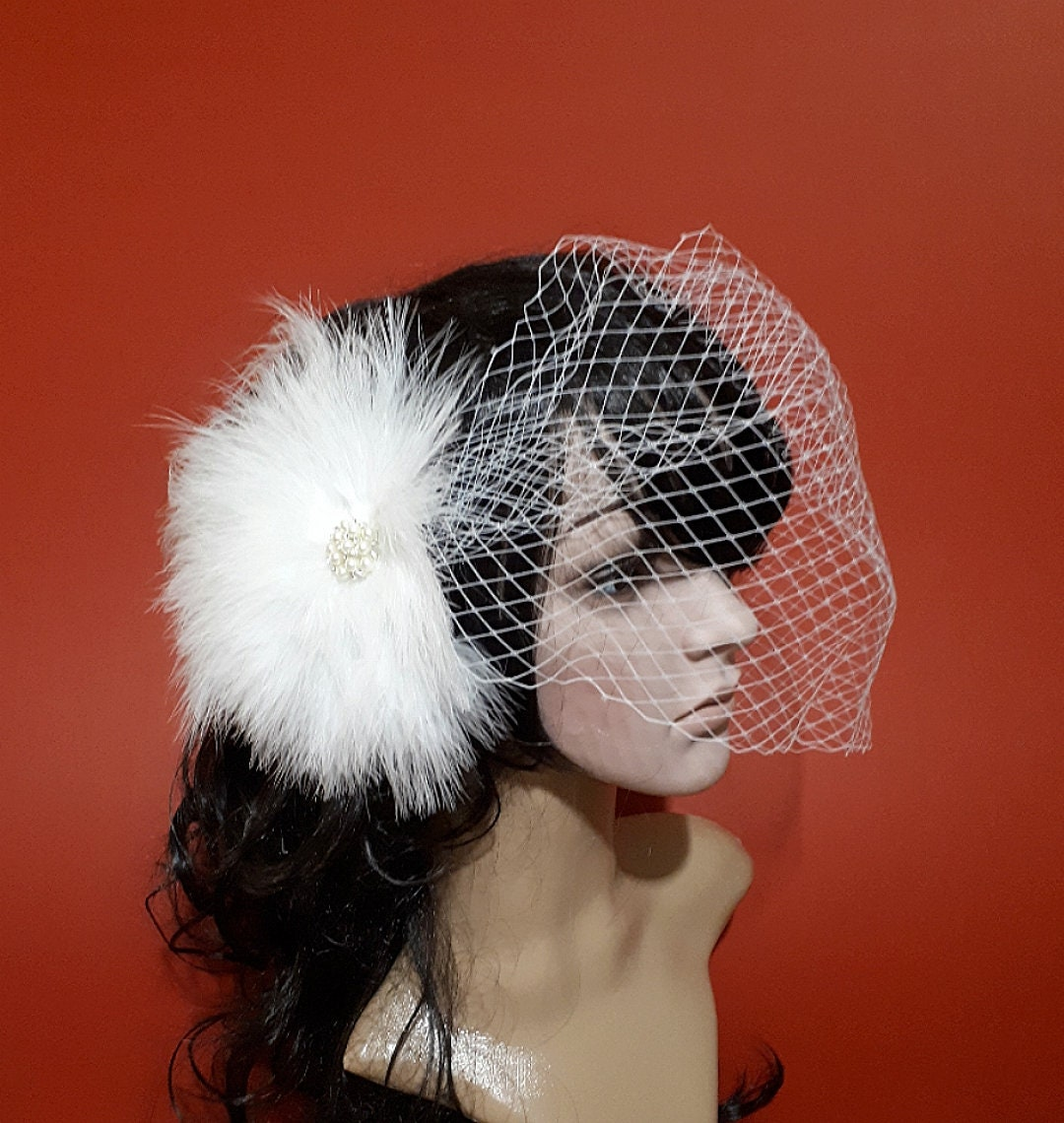 58031ece07a14 White Wedding fascinator with veil Fascinator with Veil