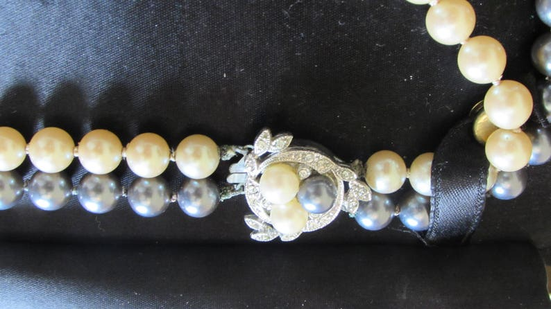 Still in Original Box Vintage Prestige Hand Knotted Double Straded Pearls with Rhinestone Clustered Silver-Tone Clasp