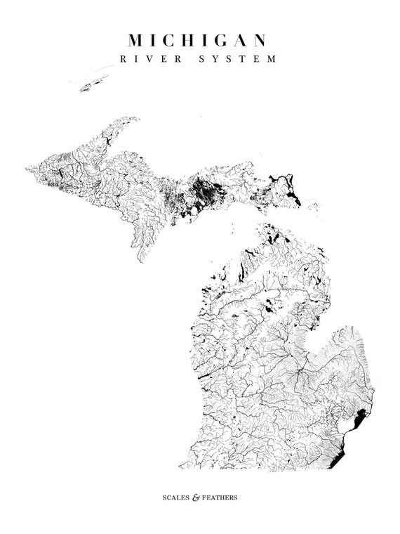 Michigan State River Map