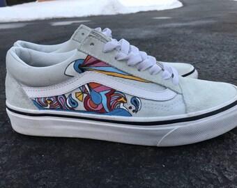 Psychedelic Custom Vans Old Skool Shoes