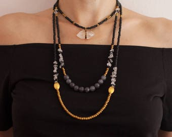 d63baf88eaae2 Mixed Media Boho Necklace / Crystal necklace /Grey Agate | Etsy