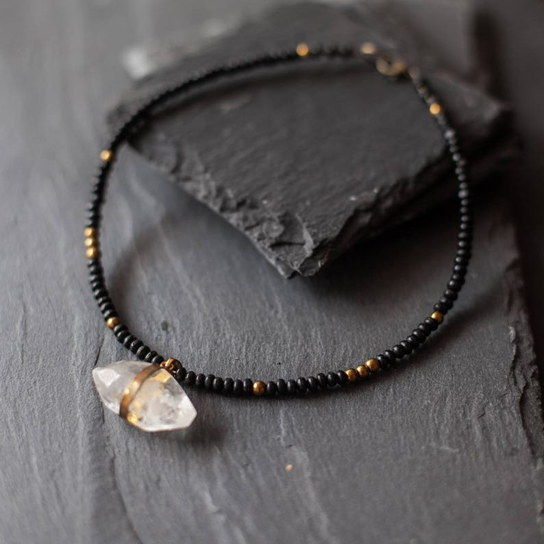 9192c46b6db3f Mixed Media Boho Necklace / Crystal necklace / Choker Necklace / Black Gold  Necklace / Wood gemstone Necklace / Statement Necklace