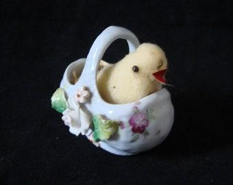 Tiny German Porcelain Basket with a Cotton Batting Chick, GERMANY