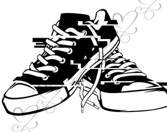 791e1c746a4df2 Sneaker Shoes Casual Converse Training Isolated Fashion Sport Style  Footwear .SVG .EPS .PNG Vector Clipart Digital Circuit Cut Cutting