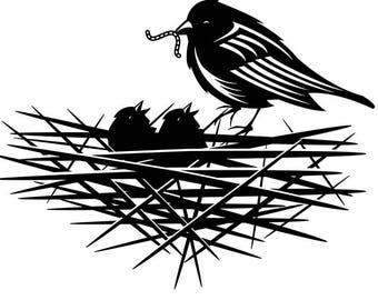 Bird Feeding Young Eating Robin Animal Worm Nest Family SVG EPS PNG Vector Space Clipart Digital Download Circuit Cut Cutting