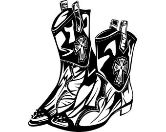 Cowboy Boots Vector Etsy