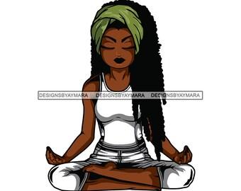 Afro Lola Meditation Yoga Svg Relax Mind Nubian Queen Black Etsy