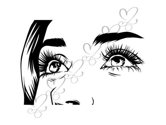 Eye Look Vision Human Female Ojos Sign Eyeball See Watching Etsy