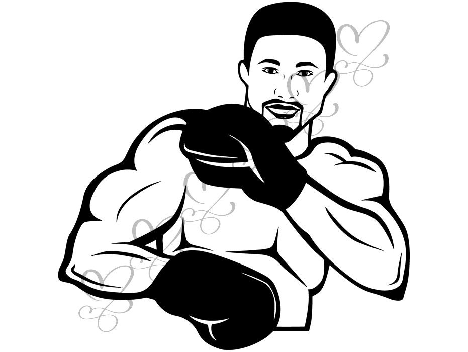 Boxing Sport Man Athlete Punch Boxer Ring Trainer Fight Fighter Glove  SVG   EPS  PNG Vector Clipart Digital Download Circuit Cut Cutting