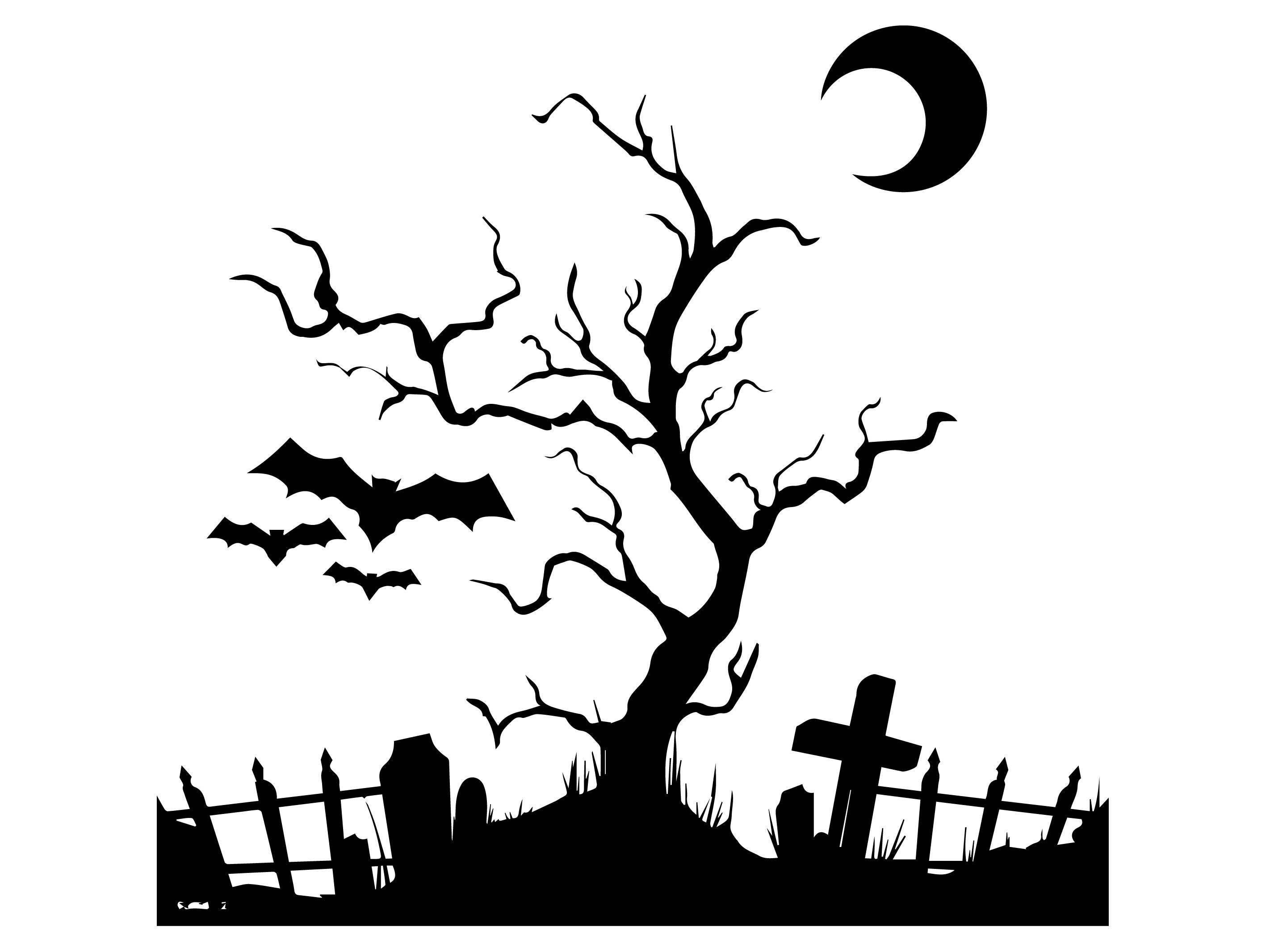 Halloween Bat Moon Tree Cemetery Grave Cross Scary Pumpkin ...