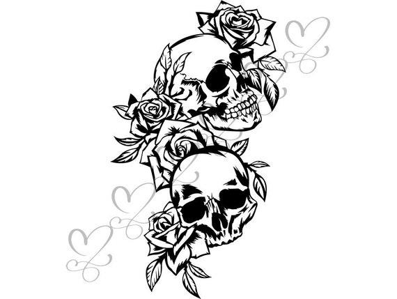 insieme di 3 Carta da regalo teschio con rose