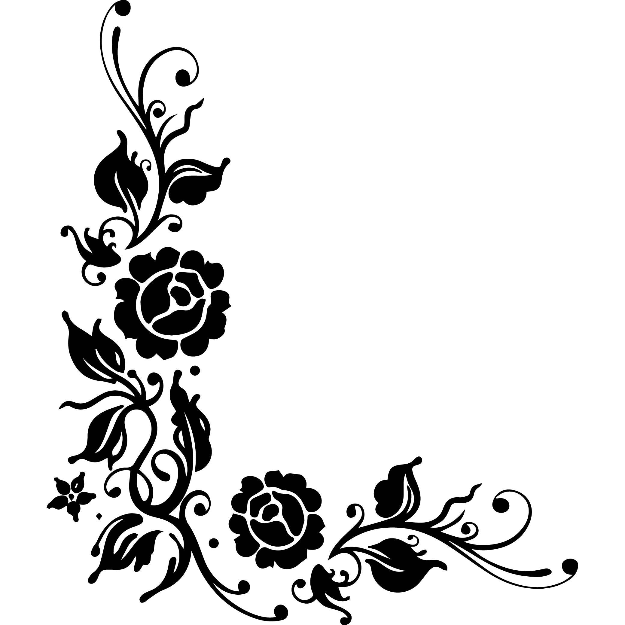 design corner border decoration logo flowers roses design